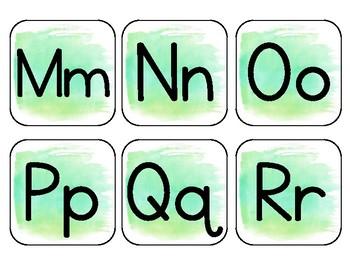 Light Green Watercolor Alphabet Word Wall