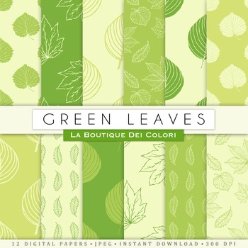 Light Green leaves Digital Paper, scrapbook backgrounds