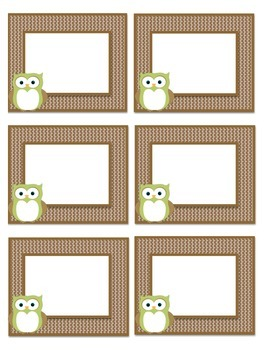 Light Green/Brown Owl Book Bin Labels