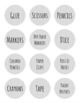 """Light Grey and White Striped 2"""" circle labels"""