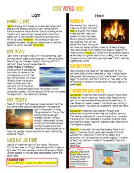 Light & Heat Energy (paired text, venn diagram & sort)