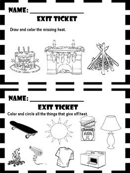 Light, Heat, and Sound - Exit Tickets