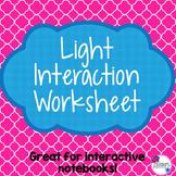 Light Interaction Worksheet