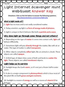 Light Introduction Internet Scavenger Hunt WebQuest Activity