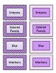 Light Lavender and Royal Purple Chevron Supply Labels