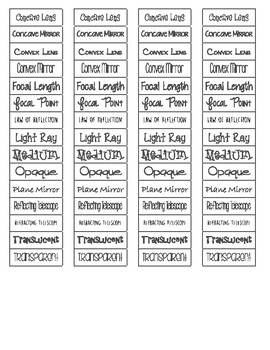 Light, Lenses, and Mirrors Cut-n-Paste Vocabulary