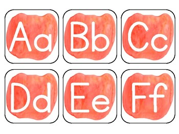 Light Orange Watercolor Word Wall Alphabet