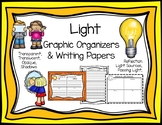Light Graphic Organizers and Writing Papers 1-PS4-3 1-PS4-2