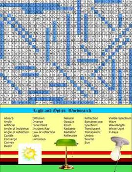 Light PDF Wordsearch, Definition Match, Crossword Puzzle