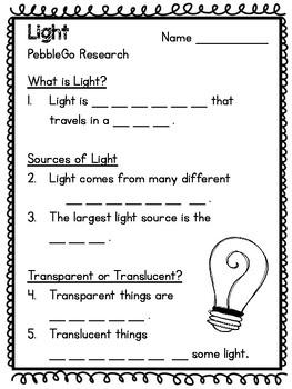 Light: PebbleGo Activity
