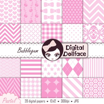 Light Pink Digital Paper, Pastel Pink Background Patterns