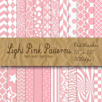 Light Pink Pattern Designs - Digital Paper Pack - 24 Different Papers - 12 x 12