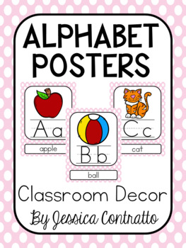 Light Pink Polka Dot ABC Posters