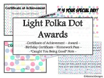 Light Polka Dot Awards Set