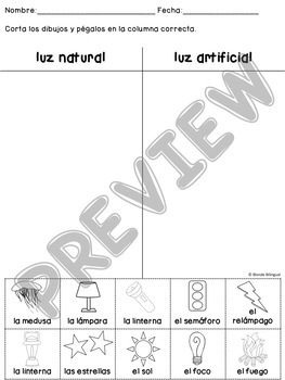 La Luz Light Practice Worksheets in Spanish