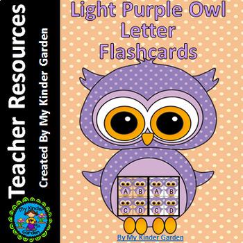 Light Purple Owl Alphabet Letter Flashcards