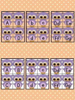 Light Purple Owl Alphabet Letter Flashcards