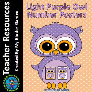 Light Purple Owl Full Page Math Number Posters 0-100