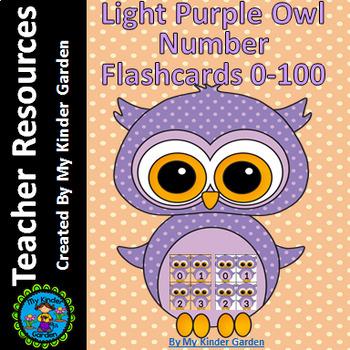 Light Purple Owl Math Number Flashcards 0-100
