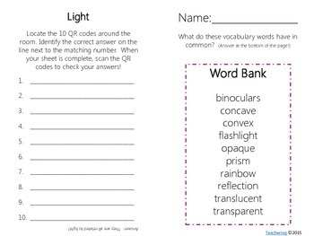 Light Task Cards with QR Codes
