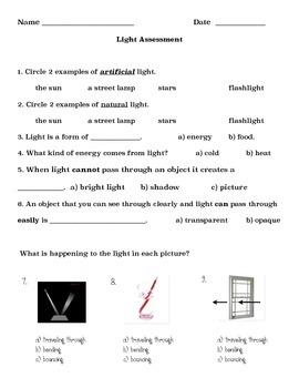 Light Quiz (Modified) Grade 2
