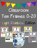 Light Rainbow Theme Classroom Ten Frames Posters 0-20