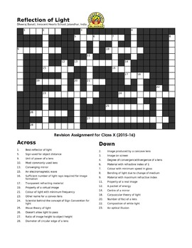 Light - Reflection: A Crossword Puzzle