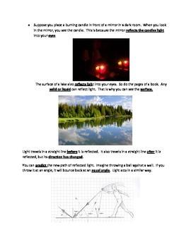 Light STUDY GUIDE 4th Grade Science