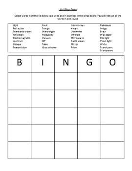 Light Science Bingo