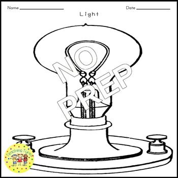 Light Science Crossword Puzzle Coloring Worksheet Middle School