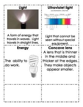 Light Science Vocabulary Cards