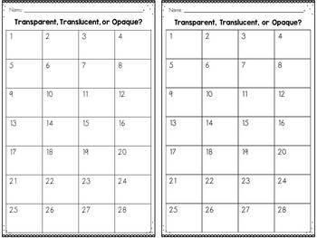 Light Sort - Transparent Translucent Opaque