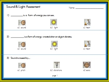 Light & Sound Energy Unit (Modified with Visual Supports)