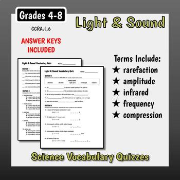 Light & Sound Vocabulary Quizzes
