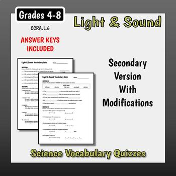 Science Vocabulary Assessments - Light & Sound