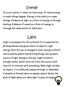Light, Sound, and Energy