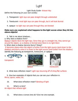 Light Study Guide and/or Assessment