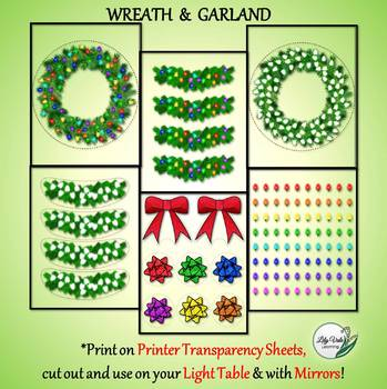Light Table Explorations- HOLIDAY WREATH & GARLAND by LilyVale Learning