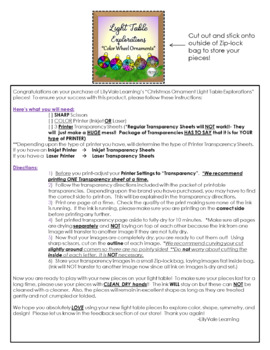 """Light Table Explorations- """"Holiday Color Wheel Ornaments"""" by LilyVale Learning"""