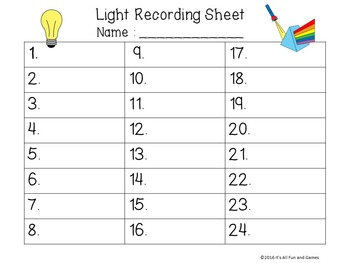 Light Task / Scoot Cards & Game board