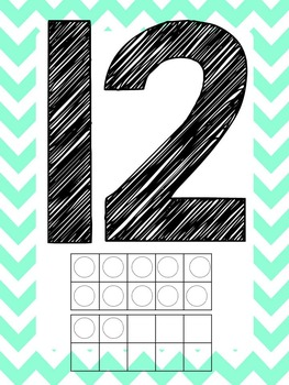 Light Teal Alphabet and Number posters