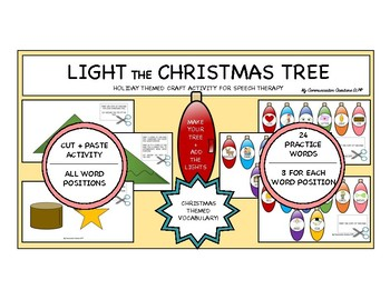 Light The Christmas Tree Craft Activity for Speech Therapy /L/ All Positions