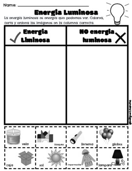 Light, Thermal, Sound Energy - Cut and Sort