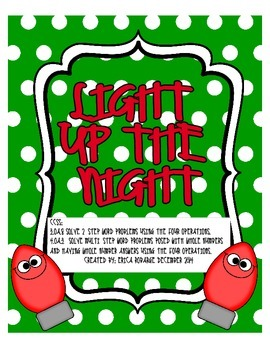 Light Up the Night Problem Solving Task Cards