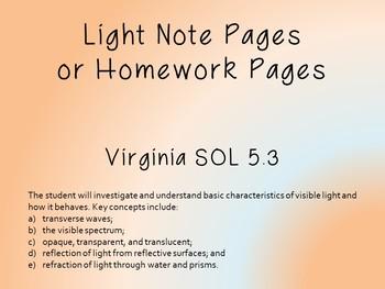 Light Virginia Science SOL 5.3