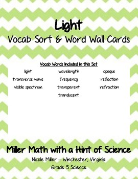 Light Vocab Sort and Word Wall Cards