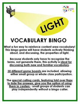 Light Vocabulary Bingo