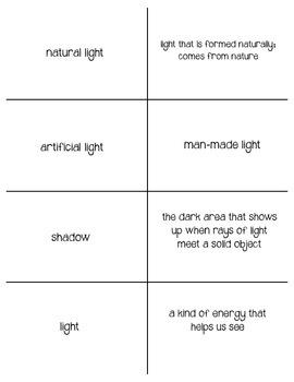 Light- Vocabulary Cards & Vocab Quiz