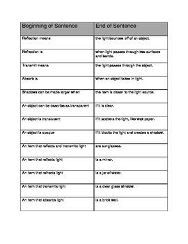 Light Vocabulary Match Up