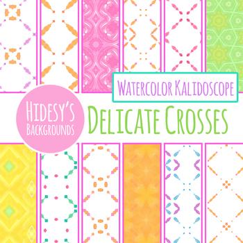 Light Watercolor Crosses Backgrounds / Digital Papers Clip Art Set